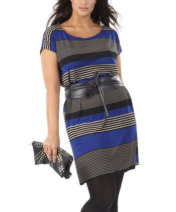 Blue Stripe Jarelle Banded Dress - Plus