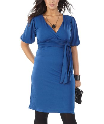 Blue Icacia Surplice Dress - Plus