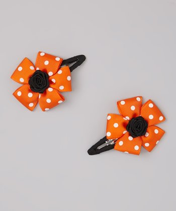 Orange Polka Dot Flower Snap Clip Set