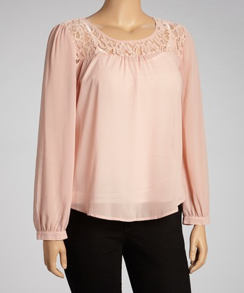 Peach Lace Long-Sleeve Top - Women & Plus