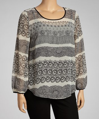 Black & Ivory Long-Sleeve Dolman Top - Women & Plus