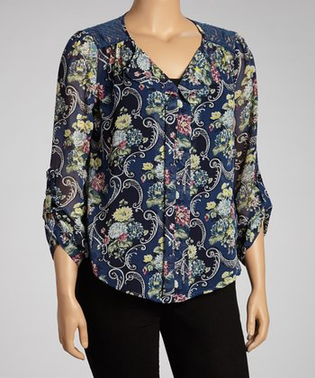 Navy Floral Lace-Back Roll-Tab Top - Plus