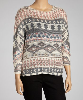 Tan & Red Tribal Long-Sleeve Top - Plus