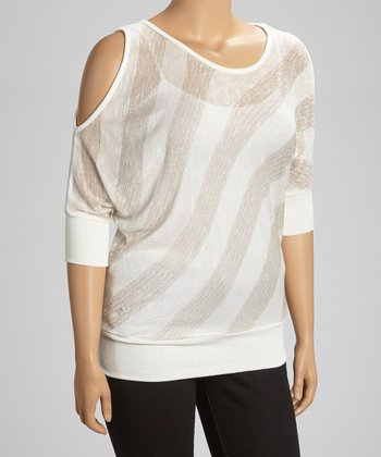 Ivory & Brown Stripe Cutout Top - Plus