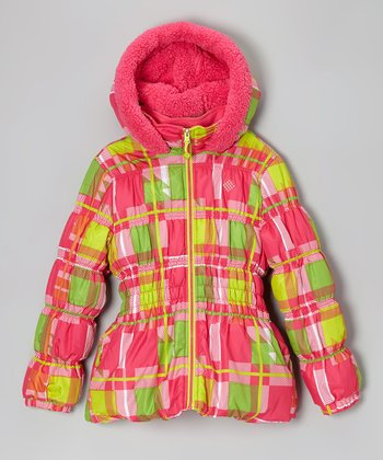 Pink Plaid Puffer Coat	 - Toddler & Girls