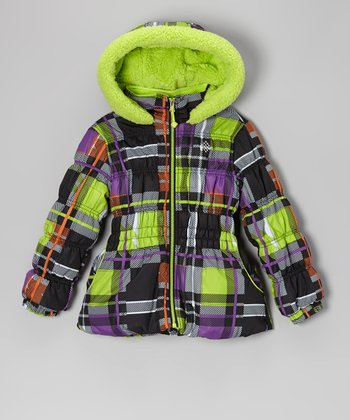 Black & Lime Plaid Puffer Coat - Toddler & Girls