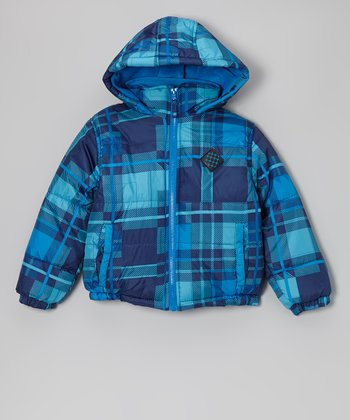 Blue Plaid Puffer Coat - Toddler