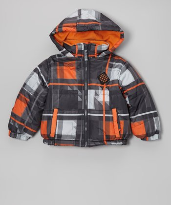 Orange & Black Plaid Puffer Coat - Kids