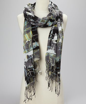 Black Swirly Plaid Scarf