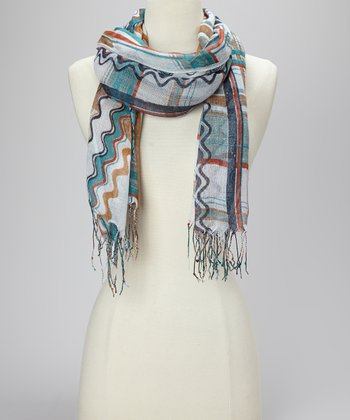 Teal Swirly Plaid Scarf