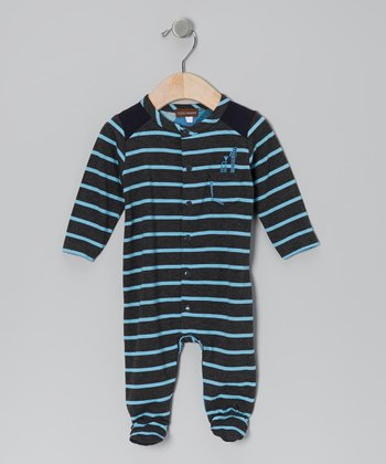 Charcoal Stripe Footie - Infant