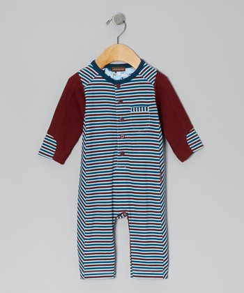 Maroon Stripe Playsuit - Infant