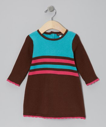 Chocolate & Water Stripe Dress - Infant, Toddler & Girls