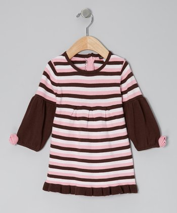 Pink & Chocolate Ruffle Dress - Infant, Toddler & Girls