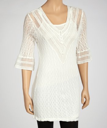 Off-White Lace Three-Quarter Sleeve Tunic & Camisole