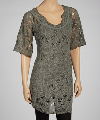Olive Lace Half-Sleeve Dress & Camisole