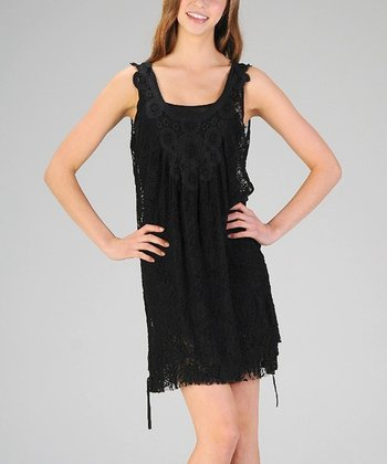 Black Crocheted Lace Sleeveless Dress & Camisole