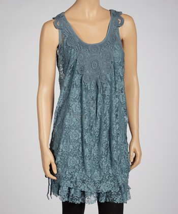 Teal Crocheted Lace Sleeveless Dress & Camisole