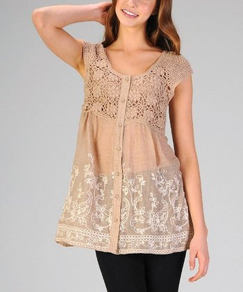 Khaki Crocheted Embroidered Button-Up Top