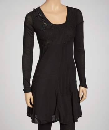 Black Lace Embellished Long-Sleeve Linen-Blend Dress