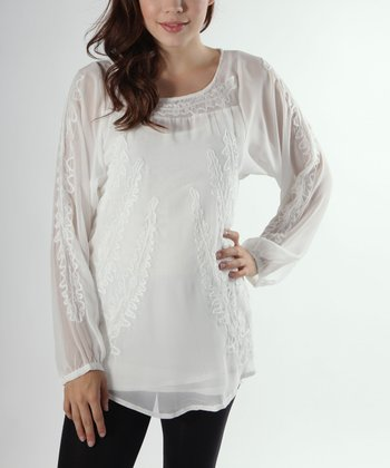 Off-White Embroidered Chiffon Long-Sleeve Tunic