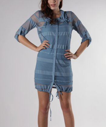 Blue Button-Up Drawstring Dress