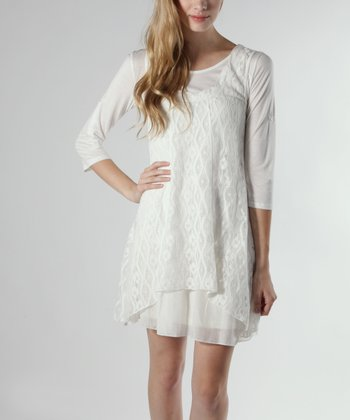 Off-White Layered Lace Three-Quarter Sleeve Dress