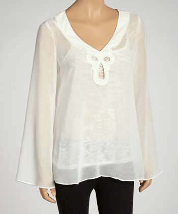 Off-White Chiffon Long-Sleeve Tunic & Lace Camisole