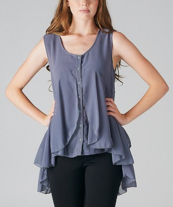 Blue Ruffle Tiered Button-Up Sleeveless Tunic