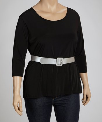 Black & Silver Belted Top - Plus
