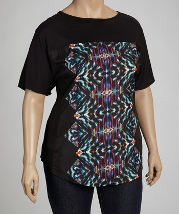 Black Tribal Top - Plus