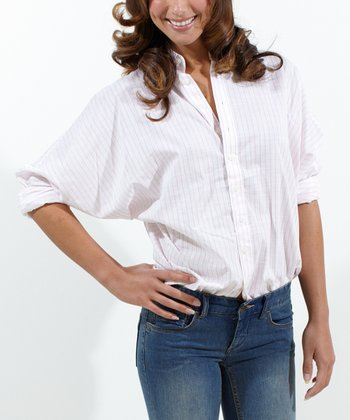 White Pinstripe Boyfriend Button-Up