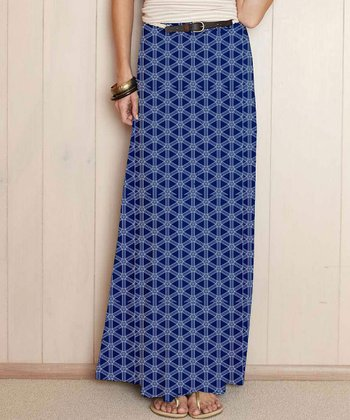 Blue Geometric Teresina Maxi Skirt