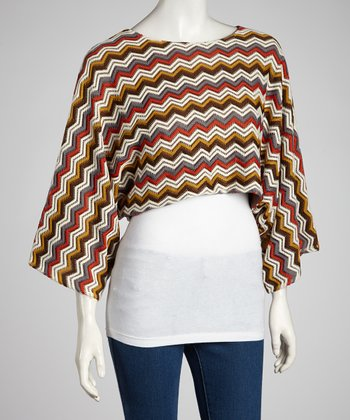 Grey & Olive Zigzag Cape-Sleeve Top