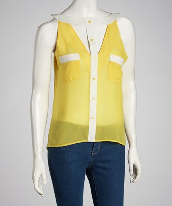 Yellow & White Color Block Sleeveless Button-Up Top