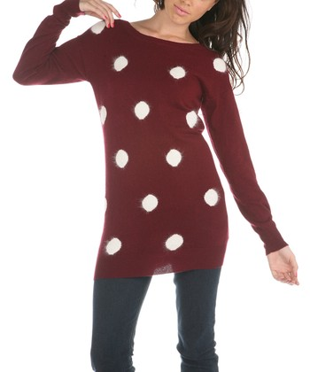 Wine & White Polka Dot Sweater
