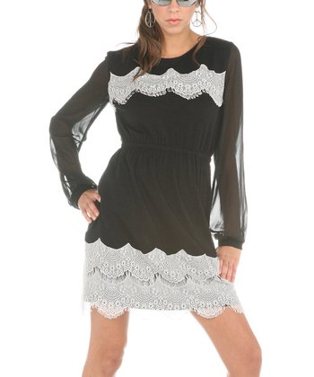 Black & White Lace Long-Sleeve Dress