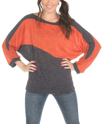 Orange & Purple Dolman Top