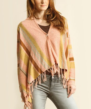 Rose & Lime Stripe Fringe Cardigan