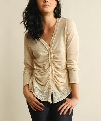 Cream Ruched Cardigan