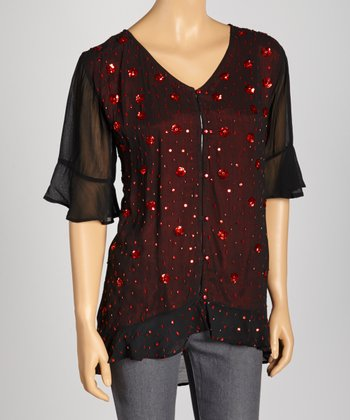 Black & Red Poppy Ruffle Button-Up Top