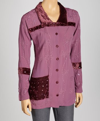 Purple Embroidered Button-Up Top
