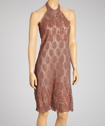 Mauve Embroidered Halter Dress