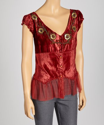 Burgundy Sequin Flower V-Neck Top
