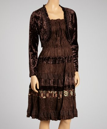 Brown Patchwork Dress and Bolero Set