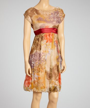 Red & Taupe Watercolor Sleeveless Dress