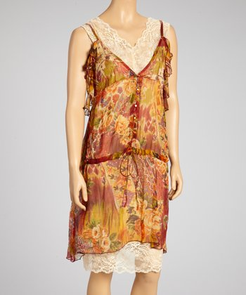 Green & Rust Lace Ruffle Sleeveless Dress