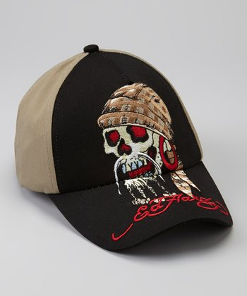 Khaki Pirate Skull Baseball Cap