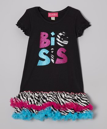 Black & Pink 'Big Sis' Ruffle Dress - Infant, Toddler & Girls