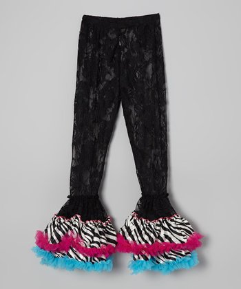 Black Zebra Lace Ruffle Leggings - Infant, Toddler & Girls